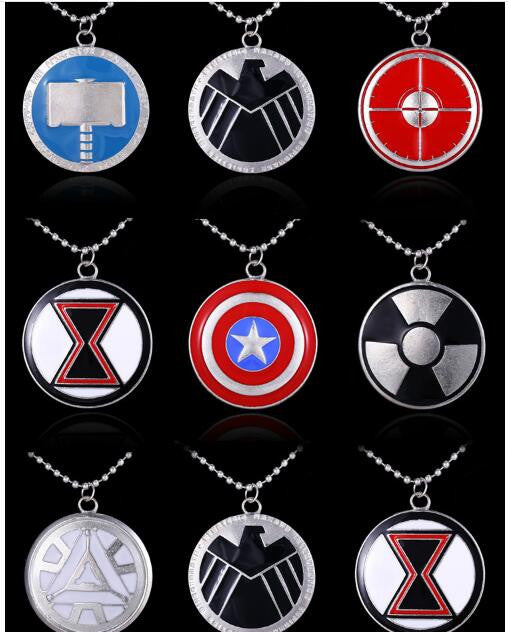 Avengers Iron Man Captain America Thor Hulk Button Pendant Necklace - CrazyPassionateAbout.com