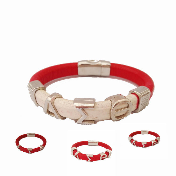 Delta Sigma Theta  Leather Magnetic  Bracelet - CrazyPassionateAbout.com