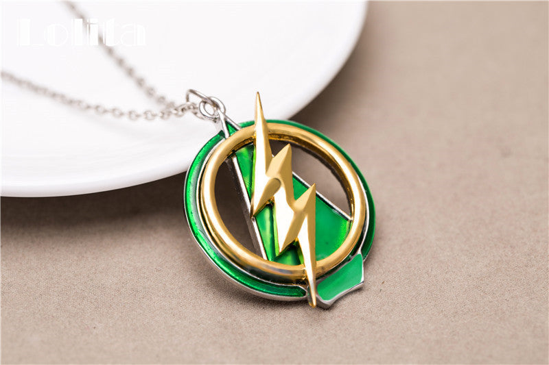 The Flash And Arrow Pendant Green & Yellow Lightning Necklace For Men & Women - CrazyPassionateAbout.com