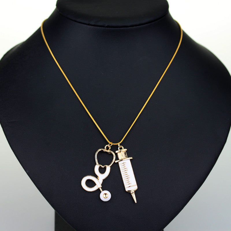 Medical Stethoscope & Syringe Necklace - CrazyPassionateAbout.com