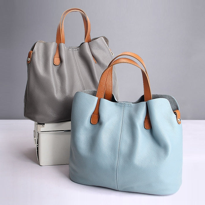 Genuine Leather handbags head layer cowhide litchi grain women handbags fashion Portable shoulder messenger bags composite bags - CrazyPassionateAbout.com