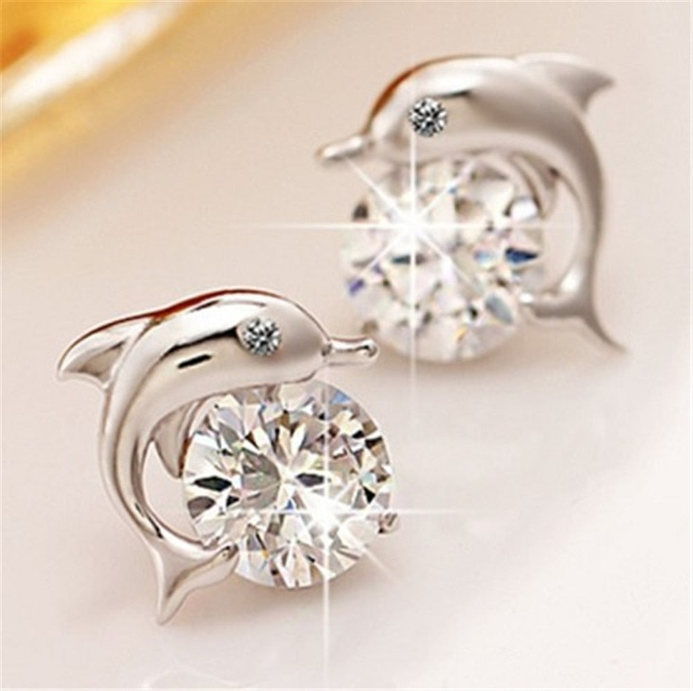 Cute Romantic Dolphin Love Stud Earrings For Women High Quality 925 Jewelry Silver Plated Round Cut AAA Zircon Brinco Bijoux - CrazyPassionateAbout.com