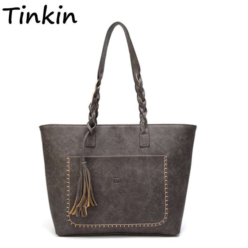 Tinkin  Vintage PU Tassel Women Shoulder Bag Female Retro Daily Causal Totes Lady Elegant Shopping Handbag - CrazyPassionateAbout.com