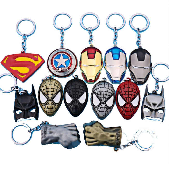 Superman VS Batman iron man Deadpool keychain ring toy set 2016 New Superhero Captain America shield helmet party decoration - CrazyPassionateAbout.com