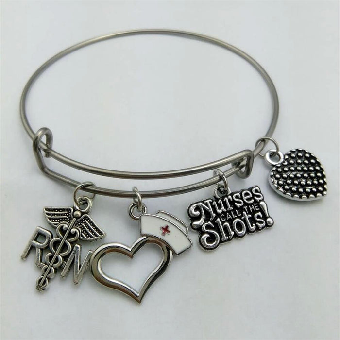 RN Charm Wire Bangle - CrazyPassionateAbout.com