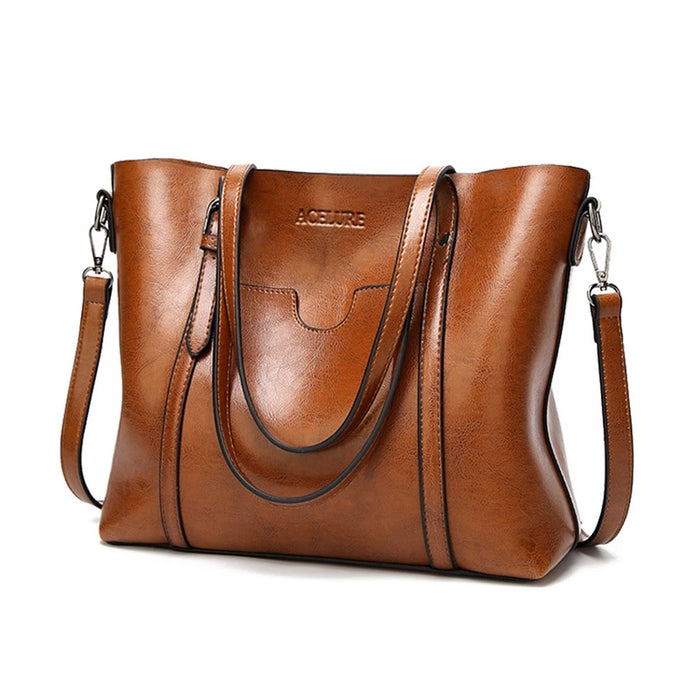 Luxury Lady Leather Oil Wax Handbag With Messenger Purse Pocket by ACELURE for Women - CrazyPassionateAbout.com