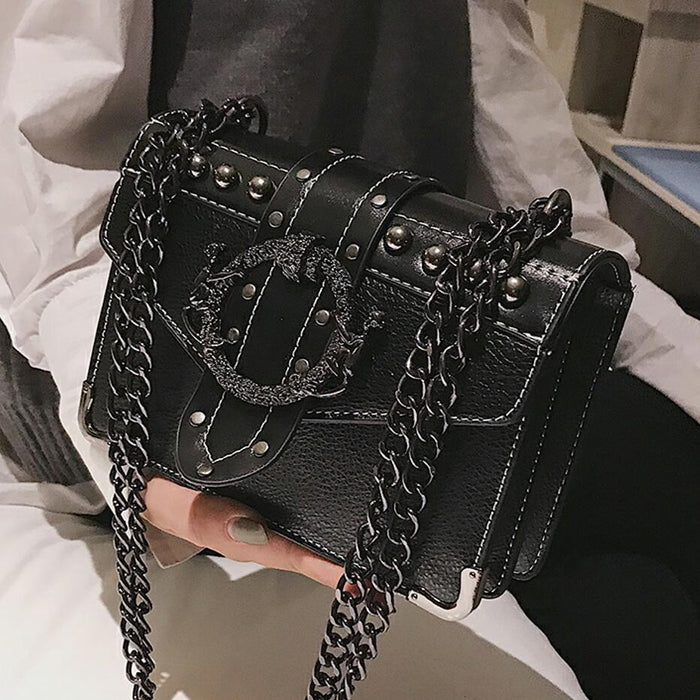 European Fashion Female Square Bag 2018 New Quality PU Leather Women's Designer Handbag Rivet Lock Chain Shoulder Messenger bags - CrazyPassionateAbout.com