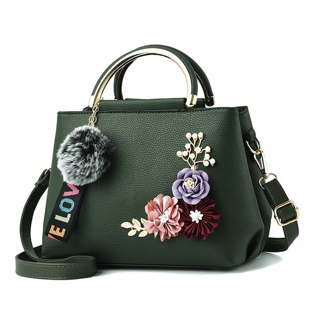 Women Bag Leather Handbag Women Shoulder Bag Tote Flowers Shell Sac A Main Femme Rivets Fur Ball Pendant Luxury Designer Ladies - CrazyPassionateAbout.com
