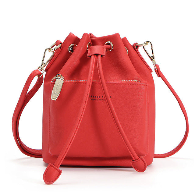 WEICHEN Fashion Bucket Shoulder Bag Women Drawstring Crossbody Bag Female Messenger Bags Ladies Synthetic Leather Handbag Sac - CrazyPassionateAbout.com