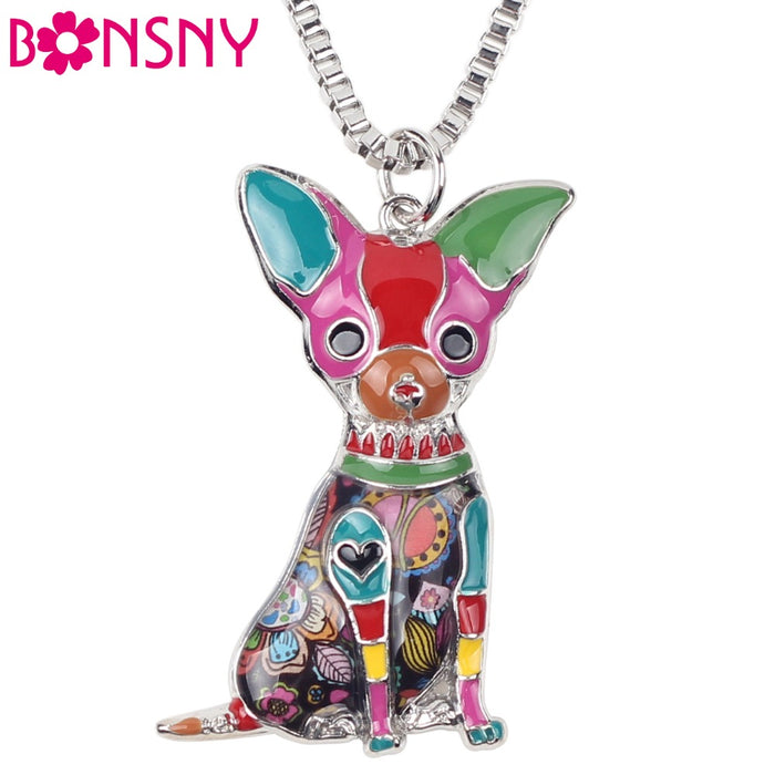 Bonsny Maxi Statement Metal Alloy Chihuahuas Dog Choker Necklace Chain Collar Pendant Fashion New Enamel Jewelry For Women - CrazyPassionateAbout.com