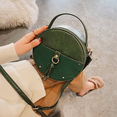 Vintage Scrub Leather Round Designer Crossbody Bag For Women 2019 PU Leather Shoulder Bags Ladies Small Handbags Mini Tote Bag - CrazyPassionateAbout.com