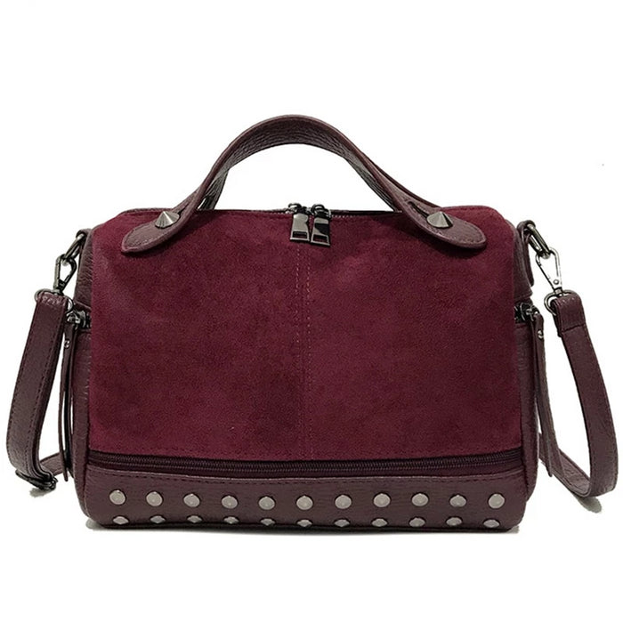 SMOOZA New Arrival Nubuck PU Leather Handbags for Women Casual Female Shoulder Bag Crossbody Bag Ladies Large Rivet Messenger - CrazyPassionateAbout.com