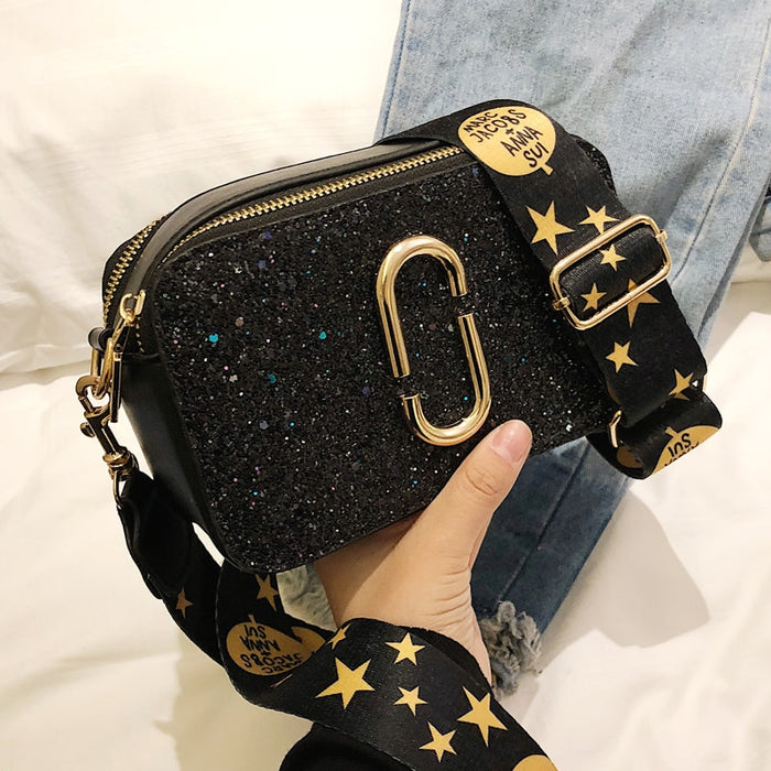 2019 Fashion New Ladies Sequin Square bag High quality PU Leather Women's Designer Luxury Handbag Black Shoulder Messenger bag - CrazyPassionateAbout.com