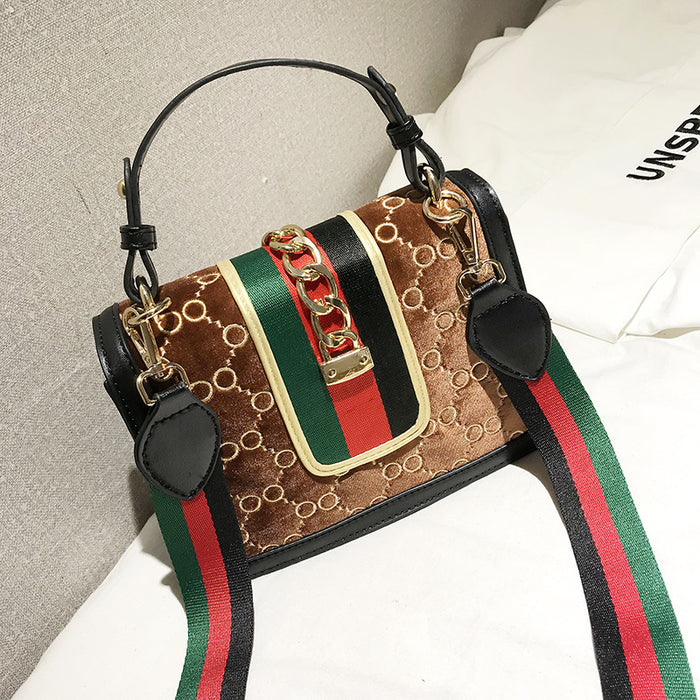 Famous Brand Luxury Handbag 2019 Women Bag Designer Women's Bag Rivet Chain Messenger Shoulder Bags Female Skull Clutch Velour - CrazyPassionateAbout.com
