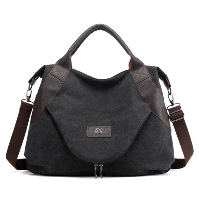 Kvky Large Pocket Casual Canvas Shoulder Handbag Tote With Leather For Women - CrazyPassionateAbout.com