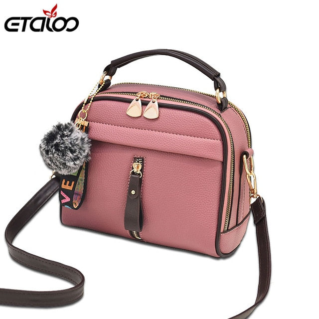 Fashion Women Handbag PU Leather Women Messenger Bags With Ball Toy Female Shoulder Bags Ladies Party Handbags 2019 - CrazyPassionateAbout.com