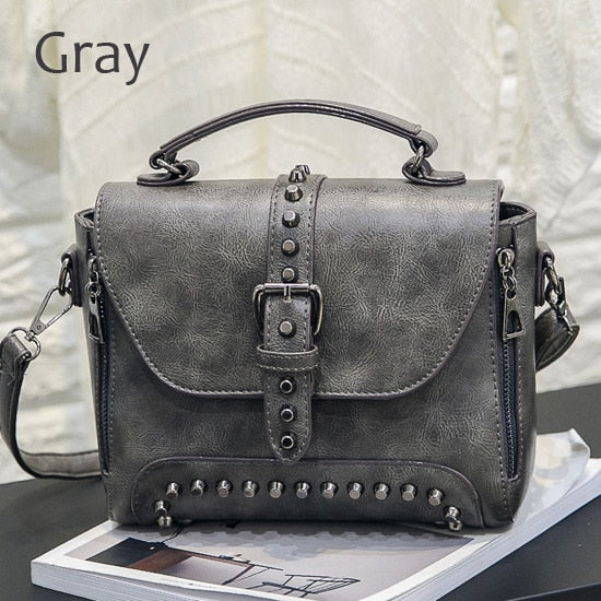 ZMQN Crossbody Bags For Women 2019 Shoulder Bags Female Vintage Leather Bags Women Handbags Famous Brand Rivet Small Ladies A522 - CrazyPassionateAbout.com