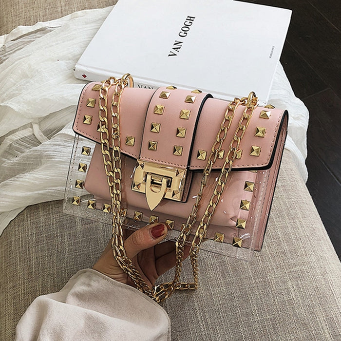 Small clear Brand Designer Woman 2019 New Fashion Messenger Bag Chains Shoulder Bag Female Rivets Transparent Square PU Handbag - CrazyPassionateAbout.com