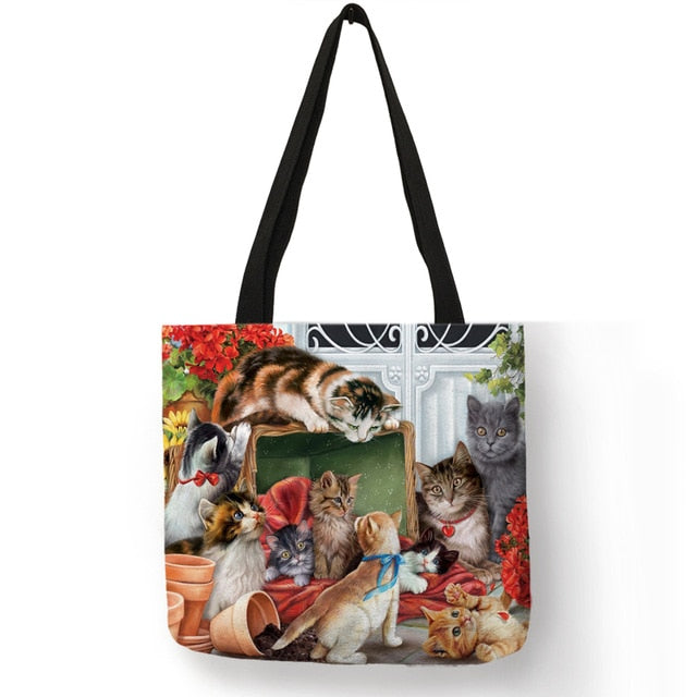 Oil Painting Cat Print Women Tote Bags Linen Reusable Shopping Bag Shoulder Bags for Women 2019 	 sac a main ladies handbags - CrazyPassionateAbout.com