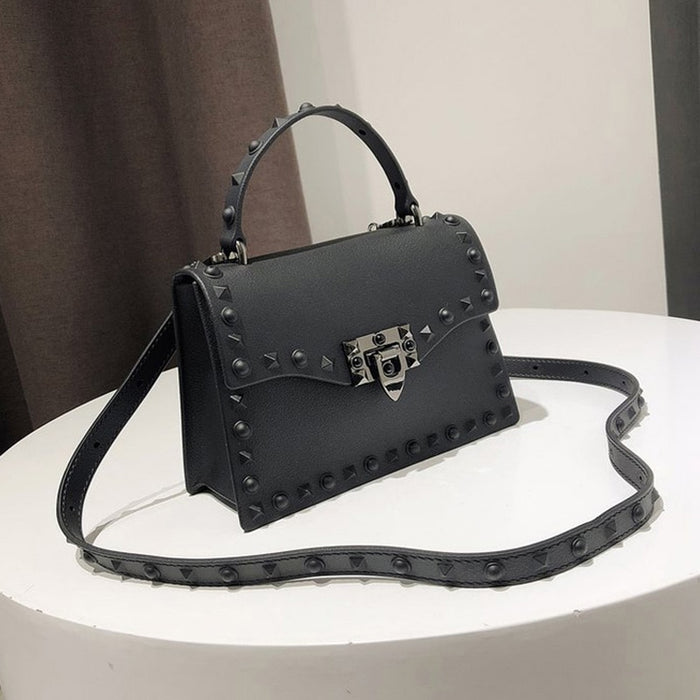 Rivet Women Messenger Bags Luxury Handbags Women Bags Designer PVC Jelly Bag Fashion Shoulder Bag Females PU Leather Handbags - CrazyPassionateAbout.com