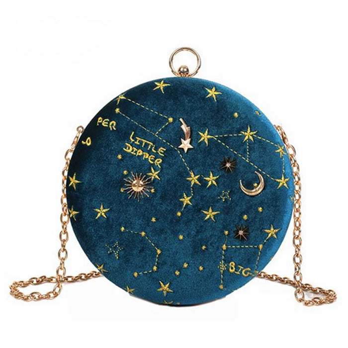 Starry Sky Circular Suede Messenger Crossbody Shoulder Bag For Women - CrazyPassionateAbout.com