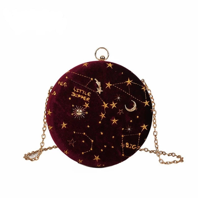 2019Starry sky Circular Fashion Suede Shoulder Bag Chain belt Women's Crossbody Messenger Bags Ladies Purse Female Round Handbag - CrazyPassionateAbout.com