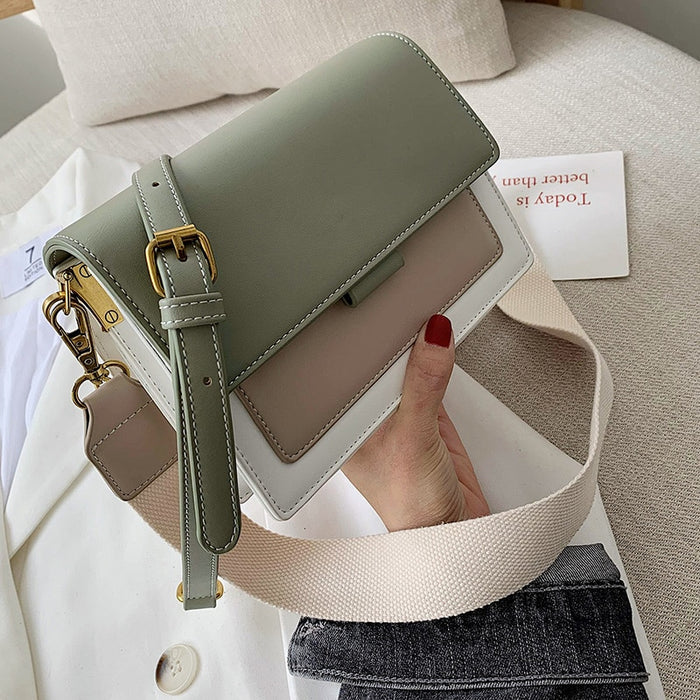 Contrast color Leather Crossbody Bags For Women 2019 Travel Handbag Fashion Simple Shoulder Messenger Bag Ladies Cross Body Bag - CrazyPassionateAbout.com
