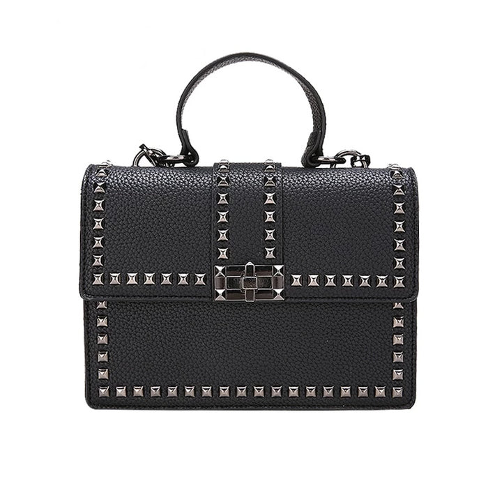 2019 Luxury Leather Shoulder Messenger Handbag With Cover Rivet For Women or Girls - CrazyPassionateAbout.com