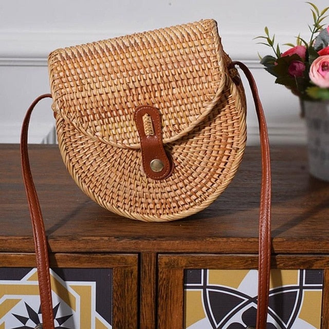 2019 Fashion Round Straw Bags Summer Style Women Handbags Bohemian Rattan Crossbody Bags Handmade Woven Beach Circular Bags - CrazyPassionateAbout.com