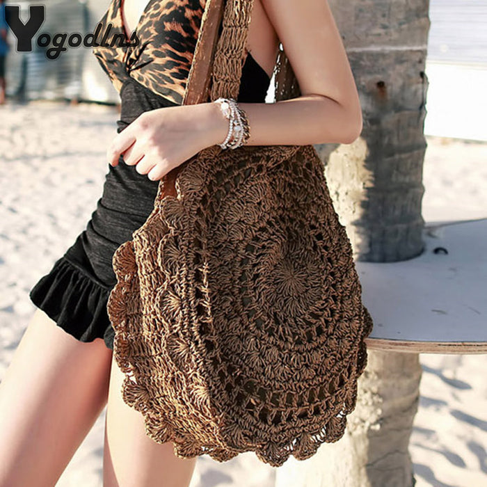 Bohemian Straw Bags for Women Circle Beach Handbags Summer Rattan Shoulder Bags Handmade Knitted Travel Big Totes Bag 2019 New - CrazyPassionateAbout.com