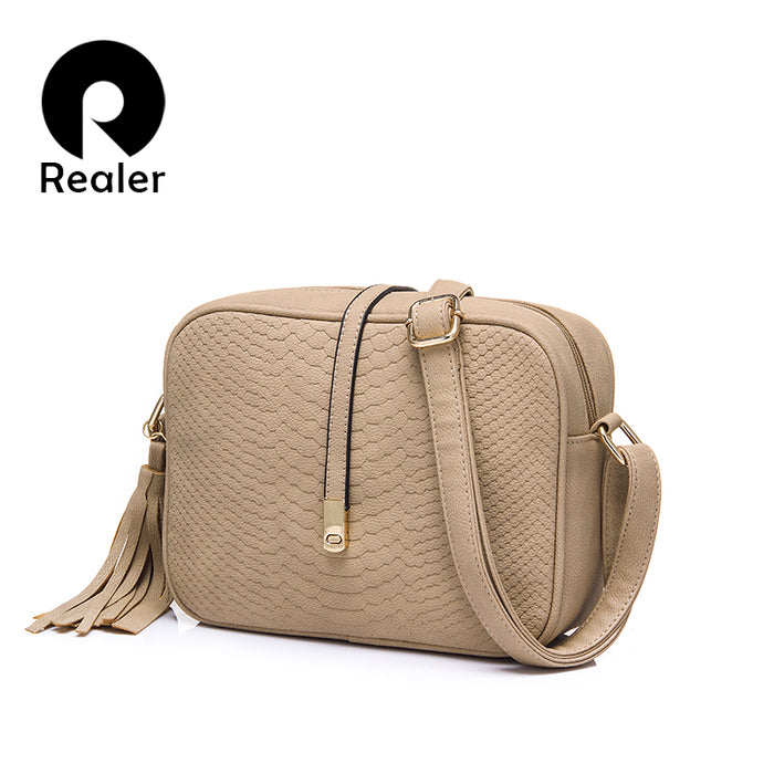 REALER women messenger bags small shoulder bag female handbag purse tassel fashion 2019 PU leather crossbodys bag for ladies - CrazyPassionateAbout.com