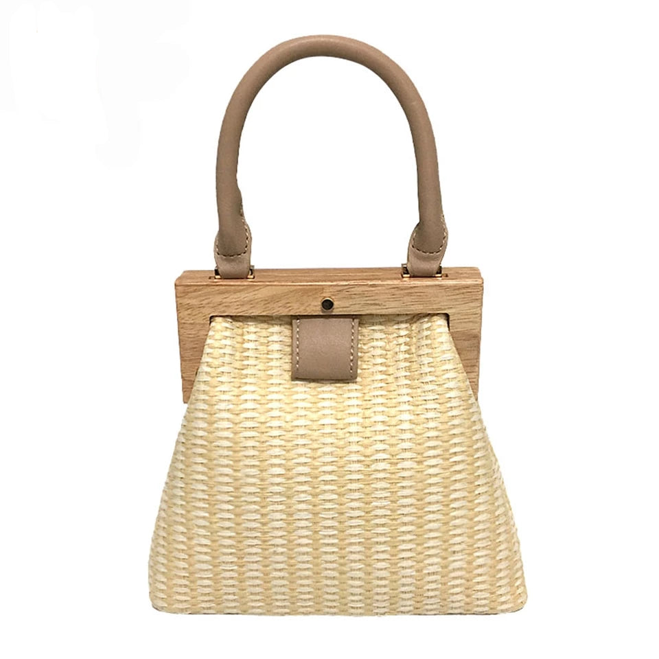Oswego Straw Bag 2019 New Fashion Wooden Clip Women Shoulder Bag Summer Travel Beach Bag Luxury Handbags Women Bags Designer - CrazyPassionateAbout.com