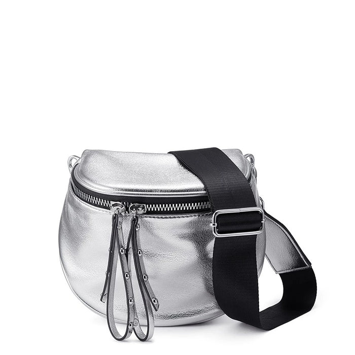 REALER crossbody bags for women bag 2019 summer metallic silver shoulder bag female PU leather messenger bag lady small handbag - CrazyPassionateAbout.com