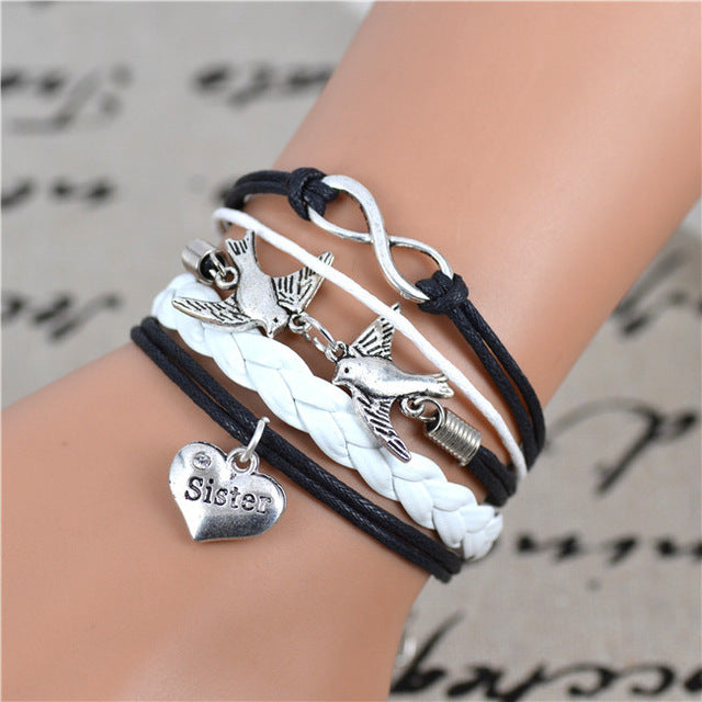 Infinity Sister Charm Bracelet - CrazyPassionateAbout.com