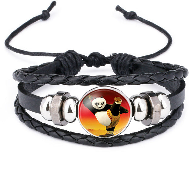 Panda Black Leather Bracelet - CrazyPassionateAbout.com
