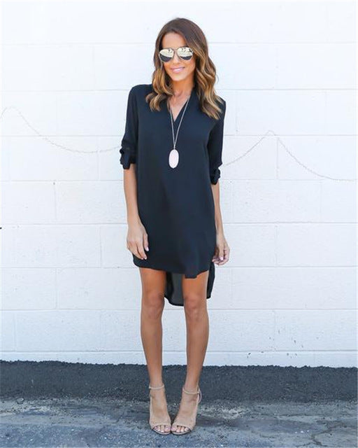 Long Sleeve Chiffon Dress - CrazyPassionateAbout.com