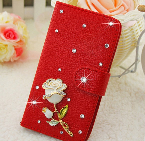 Red Rhinestone Wallet Case - CrazyPassionateAbout.com