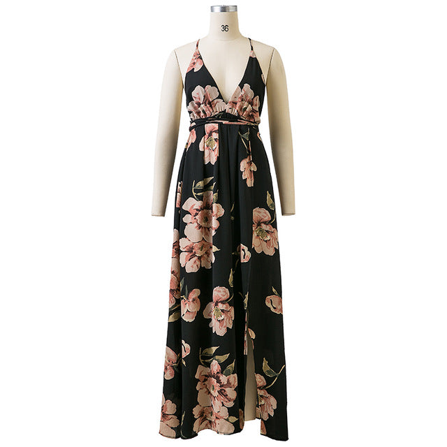 V-Neck Floral Printed Dress - CrazyPassionateAbout.com