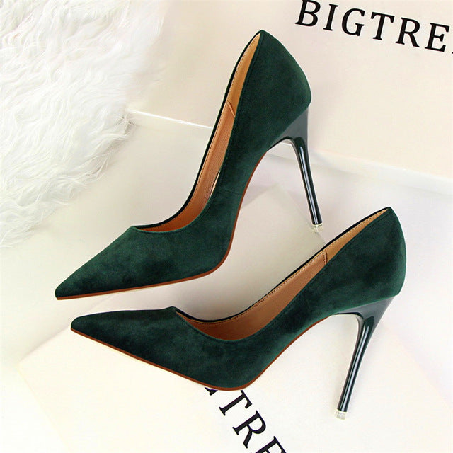 Flock Pointed Toe Pumps - CrazyPassionateAbout.com