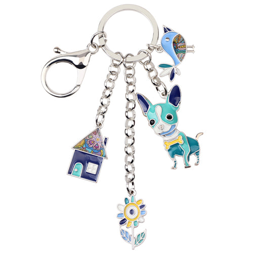 Chihuahua Dog Bird Flower House Key Chain - CrazyPassionateAbout.com