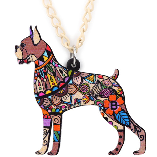 Boxer Dog Geometric Necklace - CrazyPassionateAbout.com