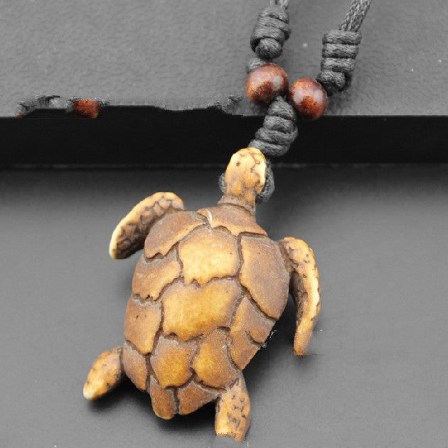 Black Rope Turtle Necklace - CrazyPassionateAbout.com