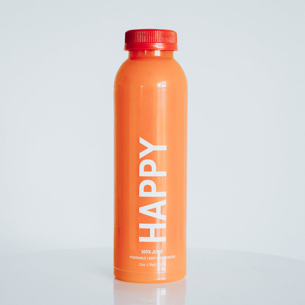 happy. [orange, pineapple, carrot, ginger]