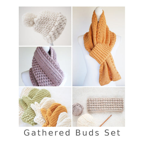 Crochet Patterns - Gathered Buds Set