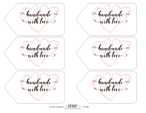 Handmade with Love - Hearts - Tags