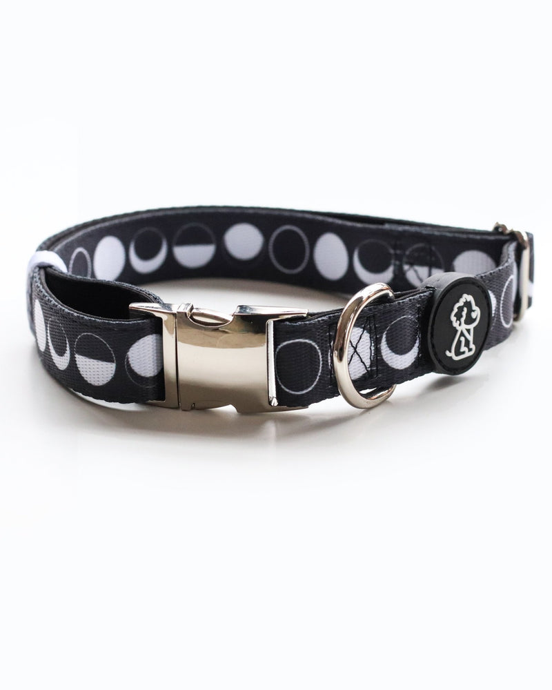 Moon Child Collection: Moon Phases + Silver Comfort Dog Collar - Ripley & Rue