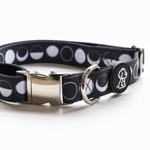 Moon Child Collection: Moon Phases + Silver Comfort Dog Collar