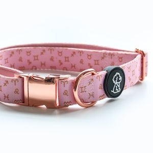 Moon Child Collection: Pink Zodiac + Rose Gold Comfort Dog Collar