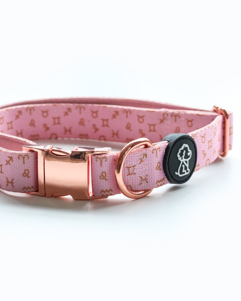 Moon Child Collection: Pink Zodiac + Rose Gold Comfort Dog Collar - Ripley & Rue
