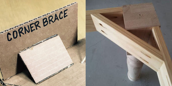 Corner brace for cardboard reinforcement.